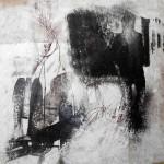 gen Himmel | 30 x 30 cm | Wachs, Acryl auf Hartfaserplatte