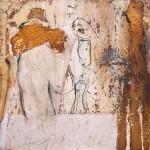 Fallen to Pieces | 2011 | 20 x 20 cm, Wachs und Rost auf OSB Platte | Alpenglühen | 2010 | 100x150cm | Acryl auf Leinwand | Privatsammlung