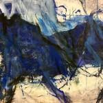Blaues Pferd | 2015 | 55 x 95 cm | Mischtechnik auf Papier