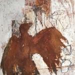 Adler | 2011 | 20 x 20 cm | Wachs und Rost auf OSB Platte | Alpenglühen | 2010 | 100x150cm | Acryl auf Leinwand | Privatsammlung